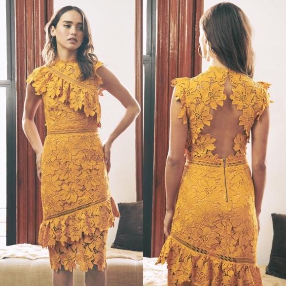 Saylor Reine Mustard Yellow Lace Sheath Midi Dress
